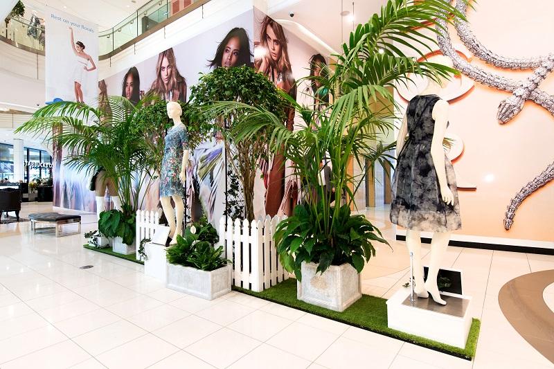 Queens Plaza fashion VM display green astroturf