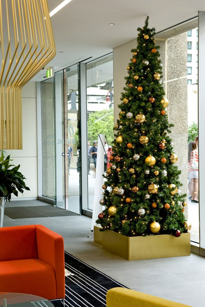 Aurizon Christmas tree with gold, silver and copper in gold tree box