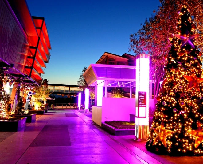 Brisbane Portside Christams striking external illuminated xmas tree