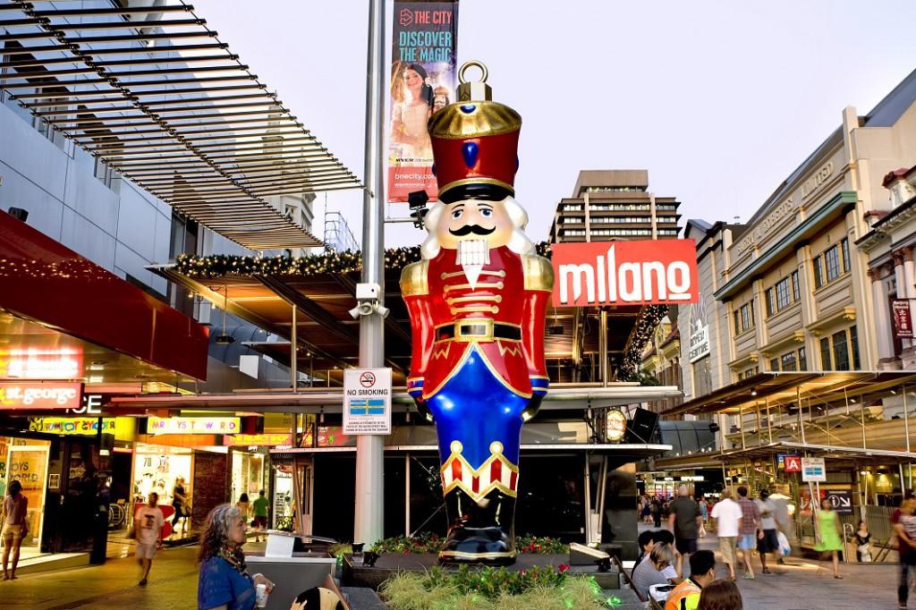 Christmas nutcracker giant ornament Brisbane CBD Queen Street Mall
