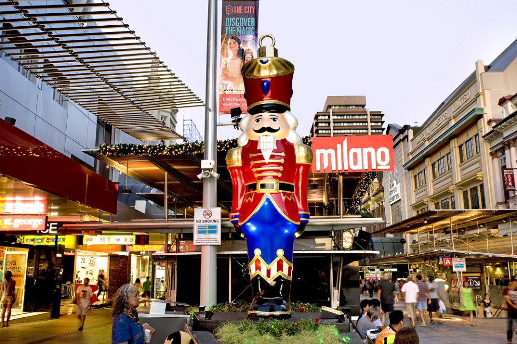 Christmas nutcracker giant ornament Brisbane CBD Queen Street Mall