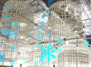 Winter Wonderland birdcages blue icicles and festoon lights
