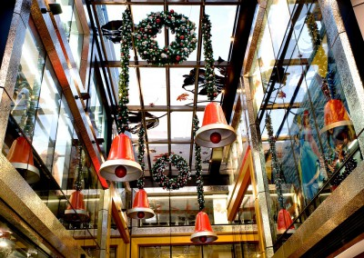 141 Queen Street Brisbane suspended Christmas bells and decorated wreaths