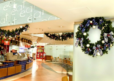 300 Queen Street Brisbane Eatery Christmas wreaths and swag garlands bows berries stars