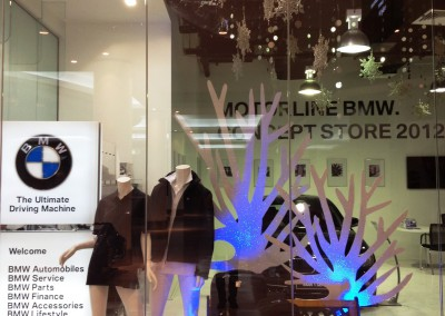BMW winter promotional  window dressing display