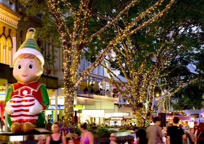 Brisbane CBD Christams elf and tree lights in Queen St Mall
