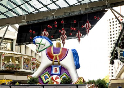 Brisbane CBD Outdoor Christmas decorations finials with rocking horse ornament