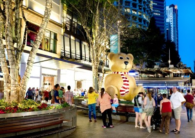 Brisbane City Mall external Christmas bear ornament and trees illuminated with fairy lights