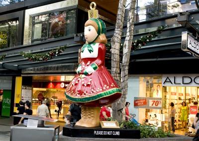 Brisbane Queen Street mall external Christmas doll ornament