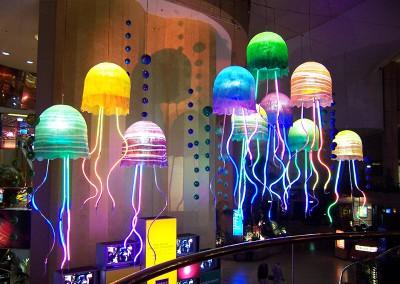 Jupiters atrium illuminated Jellyfish