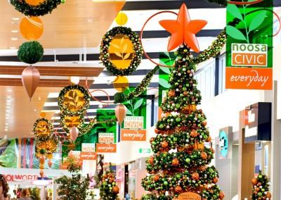 Noosa Civic shopping centre Santa throne and custom Christmas decorations