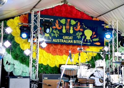 Outdoor marquee multi colour fan display for Great Australian Bites community event
