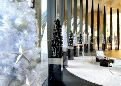 Riperian Plaza white  and black Christmas trees with stunning silver decorations