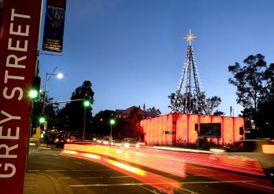 Southbank Brisbane illuminated Christmas tree at twilight