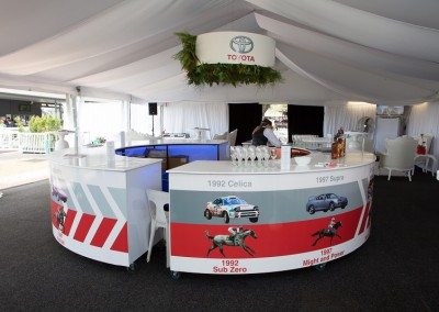 Toyota brand promotion marquee with custom design bar and logo feature
