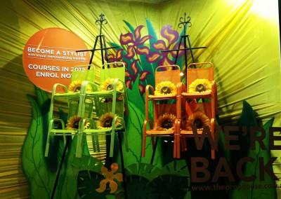Tropical summer sunflower window display