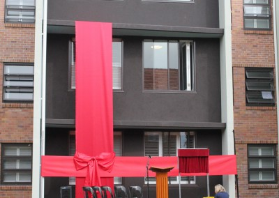 University accommodation building launch red ribbon feature display