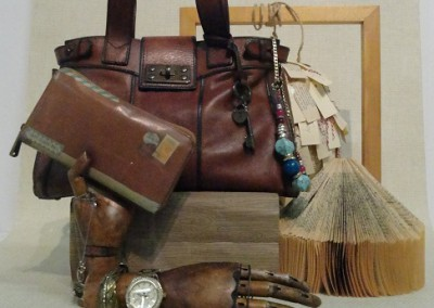 VM retail window display with antique props