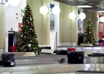 Virgin airlines at Brisbane airport red silver and purple decorated trees
