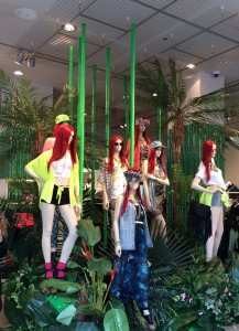 Spring Summer fashion mannequins - jungle display